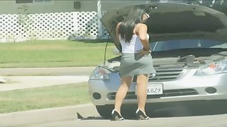 For want of car repair busty stunner ends up fucking for cash