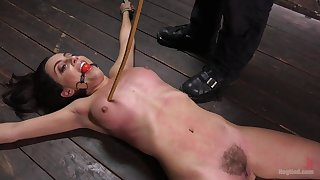 Roxanne Rae enjoys the BDSM sex games on the floor while she is tied