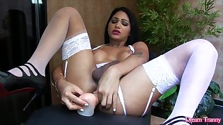 Dream Tranny - Shemales Mounting Dildos Compilation Part 9