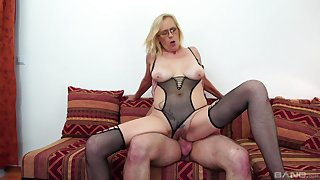 Busty mature leaves much younger lad to demolish her cunt