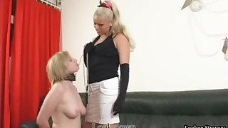 Lesbian Slave d To Lick Mistress Pussy And Ass Before Taking Strapon