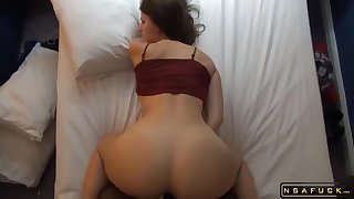 Striking brunette milf gets nailed doggystyle by a black guy