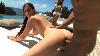 Mature lands daughter's boyfriend cock for a few outdoor rounds by the pool