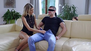Unforgettable 3some surprise for blind folded boyfriend