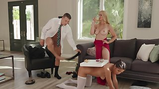 Affluent slut Sarah Vandella has Kendra Spade and a stud to meet her needs