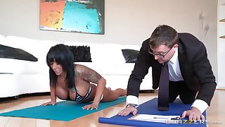 Milf with big fake pierced boobs works out and rides her lover