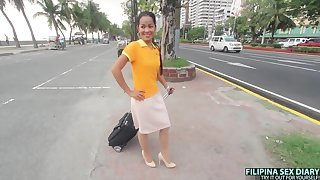 Cute Filipina flight attendant gets picked up outdoors and fucked well