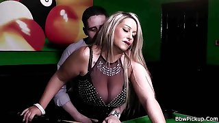 BBWPickup - BBW blonde in nylon done on a pool table