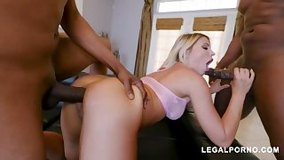 Adriana Chechik is pumping out while spunking and enjoys to have casual three-ways with ebony boys