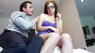Red haired babe is getting her pussy filled up with a rock hard dick, just for fun