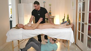 Soft massage drives busty wife to crave for cock