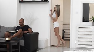 Smooth interracial sex with skinny blonde amateur Doris Ivy