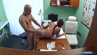 First time this young male fucks the hot doctor
