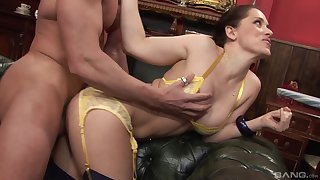 Hot wife lands the right inches in front of her hubby