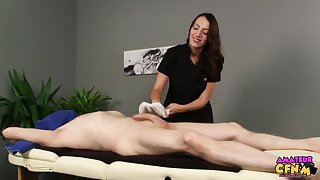 Liz Rainbow is a masseuse who can't resist touching her clients' dick