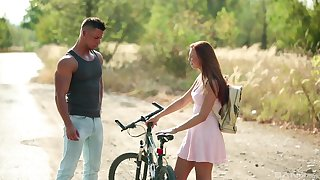 Young hottie Morgan Rodriguez meets a helpful man in the wild