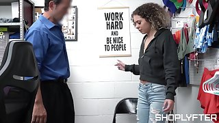 Small tits shoplifter Allie Addison gets fucked by a dirty officer