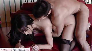 Delicious mistress in stockings Diana Prince goes wild on a big hard cock