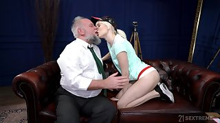 Young blonde suits her sexual needs with an old cock