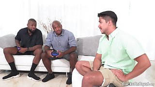 Black dudes show this Latino guy the best anal trio in his gay life