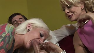 Two super slutty grannies are eager to share a terrific pecker