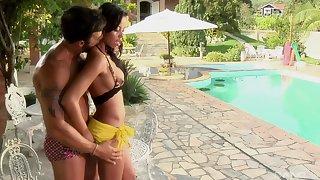 Latina in a bikini Marcellinha Moraes missionary fucked at the pool