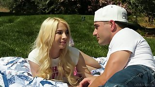 Naughty blond head Kenzie Reeves blows dick and gives stud a ride outdoors