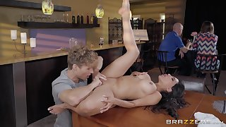 Curvy Latina MILF Lela Star pounded at a public restaurant