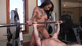 Honey Foxxx fuck her handsome and strong friend after hard training
