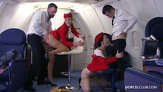 Alexis Crystal and Misha Cross are VIP stewardesses who were hired to do everything to please dudes
