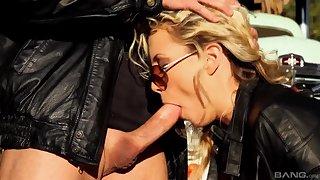 Biker girl sucks pretty hard then fucks even better